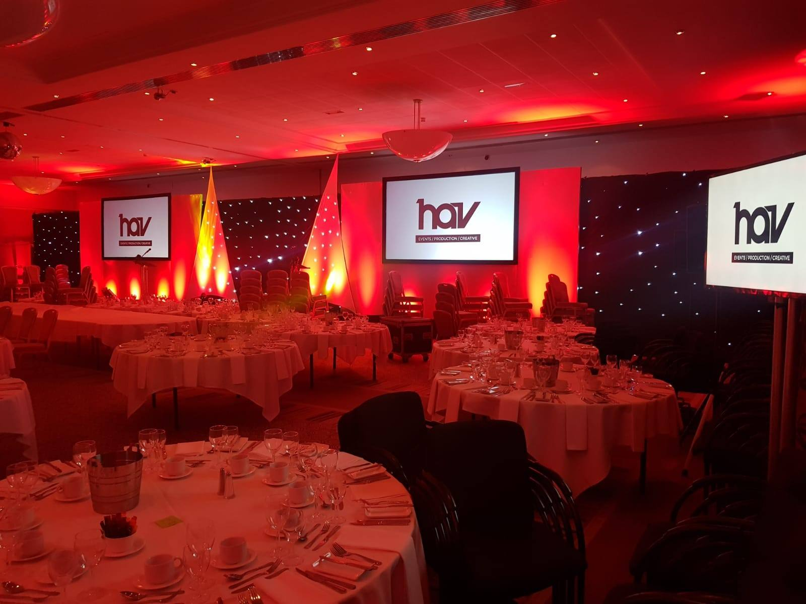 HAV awards ceremony showing stage set lighting and projection screens