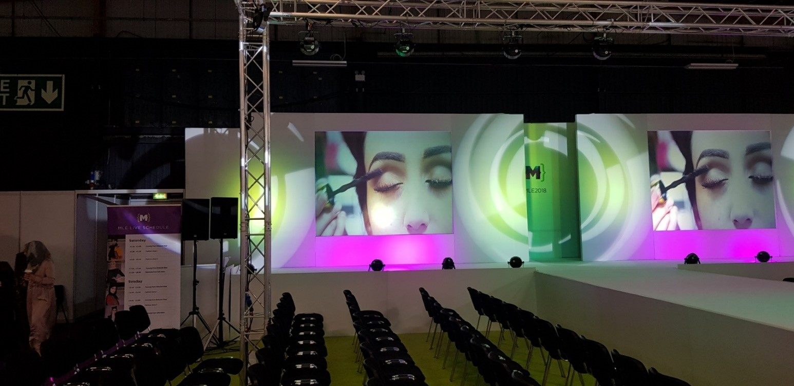 Humphries AV fashion show with catwalk lighting projection screens